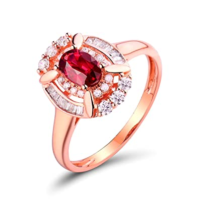 787c44efcb0 Image Unavailable. Image not available for. Color  Lanmi Fashion Women  Natural Ruby Diamond Wedding Engagement Band Ring Rose Gold 14K