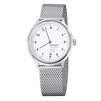 Mondaine Helvetica No1 Regular 40mm MH1.R2210.SM Reloj de pulsera Cuarzo Unisex correa de Acero inoxidable Plateado: Amazon.es: Relojes