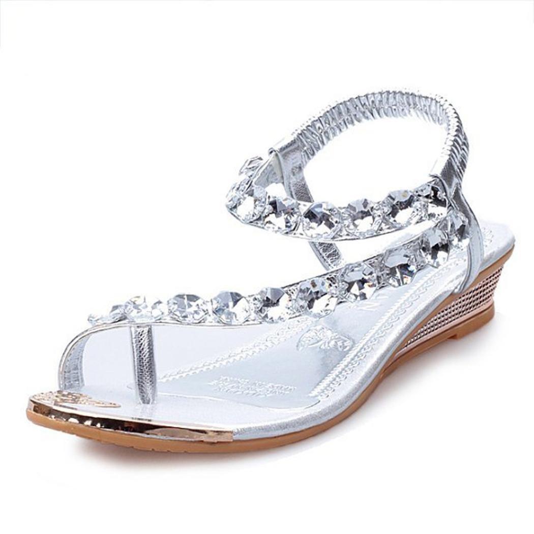 Damen Sommer Sandalen Strass Wohnungen Plattform Keile Schuhe Flip Flops Strandschuhe Zehentrenner  35 EU|Silver