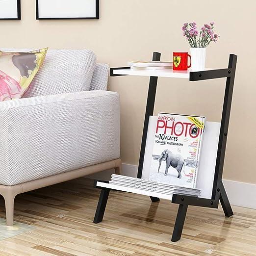 Librería sofá mesa de centro mesa de café forjado creativa revista rack piso simple libro estante rack mesita de noche-35 * 40 * 60cm hierro arte,Brown: Amazon.es: Hogar