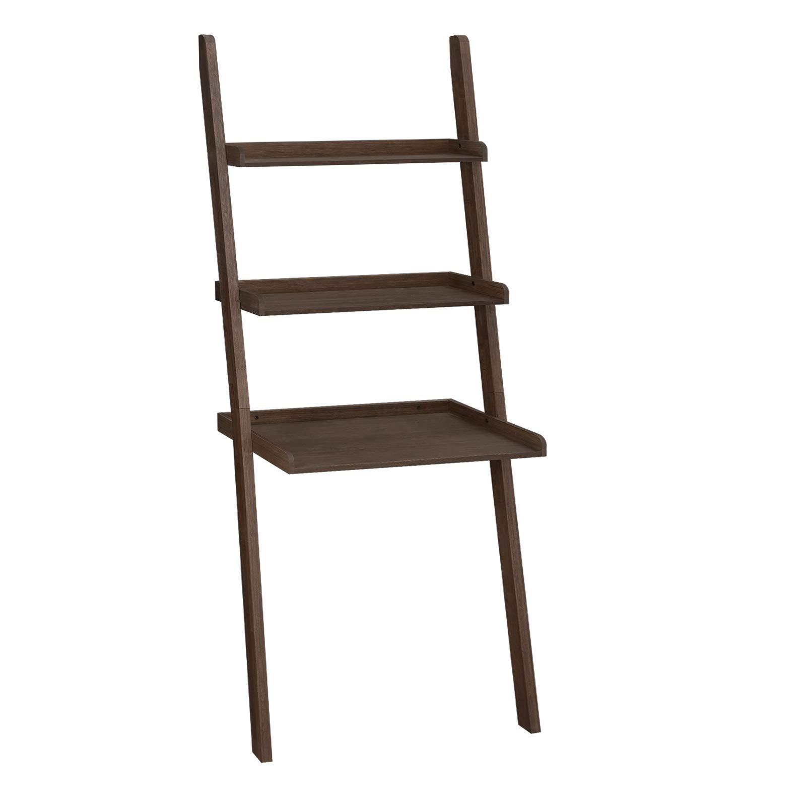 VASAGLE Ladder Shelf, 100% Bamboo Bookshelf, 3-Tier Home Office Desk, Display and Storage for Living Room, Bedroom, Walnut ULLS13BR by VASAGLE