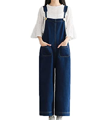 Women Large Plus Size Baggy Jeans Overalls Wide Leg Pants Sleeveless