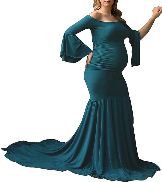 BLACKMYTH Mujer Elegante Fuera del Hombro Embarazada Vestido Fotografía Maternidad Larga Volantes Manga Maxi Sirena Vestido