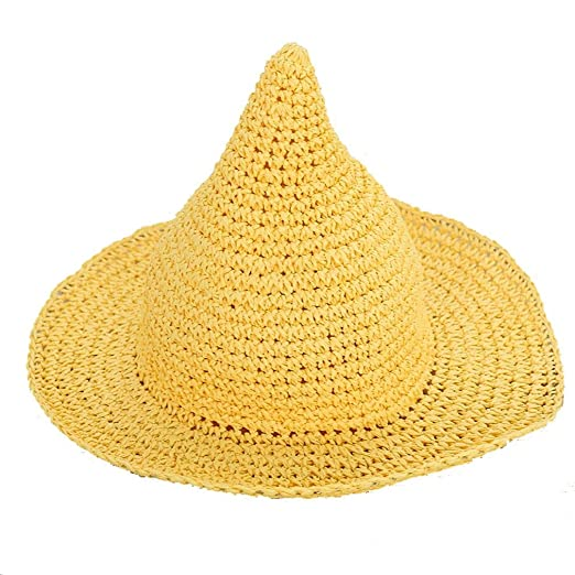 c1047588 SAYM Women Fashion Candy Color Children Straw Pointed Witches' Hat Beach  Sun Cap Yellow at Amazon Women's Clothing store: