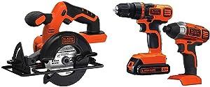 BLACK+DECKER BDCCS20B 20-volt Max Circular Saw Bare Tool, 5-1/2-Inch with Black & Decker 20V MAX Drill/Driver Impact Combo Kit