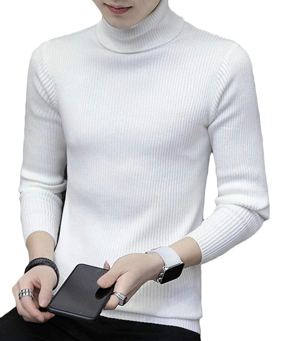 Generic Mens Casual Slim Fit Turtleneck Pullover Long Sleeve Ribbed Knit Sweater