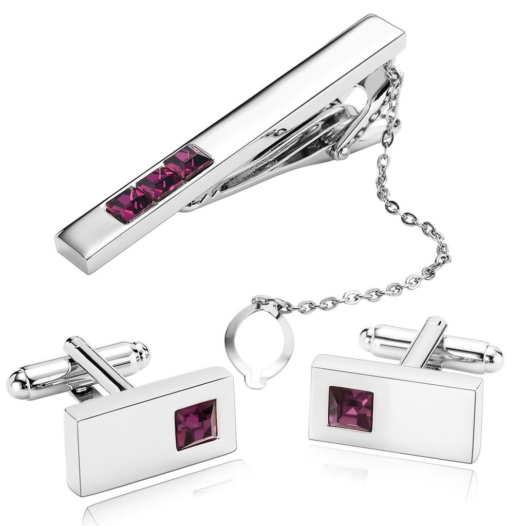 KnSam Men Stainless Steel Tie Clip Cufflinks Set Silver Rectangle Roseo Crystal Tie Bar Shirt Stud