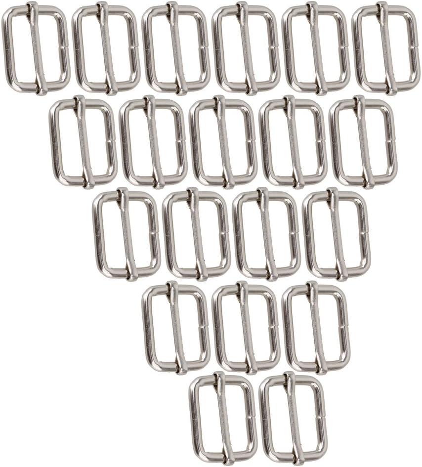 RDEXP Black Metal 25mm D Webbing Strap Adjuster Bag Belt Buckle Pack of 20