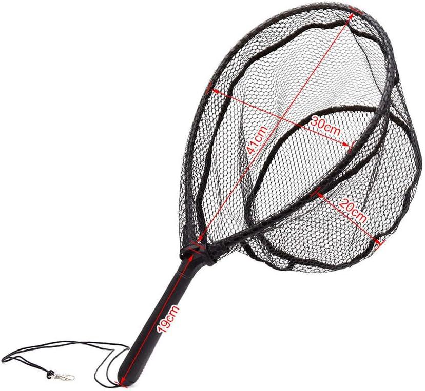 Ogquaton Fliegenfischen Kescher Nylon Fischernetz mit ABS Griff Aluminiumlegierung Rahmen bequem und praktisch