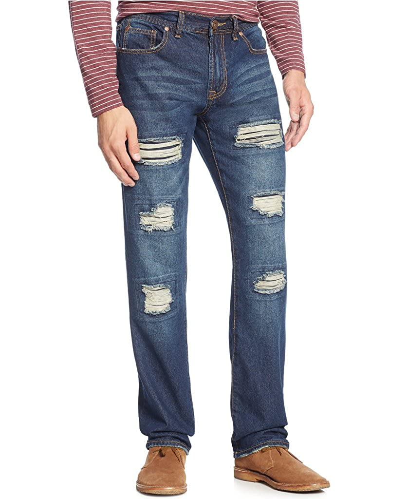 50ce34daa Ring Of Fire Mens Slim Straight Distressed Denim Jeans 36x30 Blue at Amazon  Men's Clothing store: