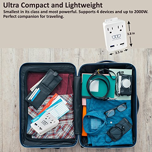2000W International Travel Adapter Kit - AC Outlets + Quick Charge 3.0 and 2.4A USB Port with Worldwide Universal Wall Plugs for UK US AU Europe Italy Asia - Works for Hair Dryer & Hair Straightener by Gold Armour (Image #2)