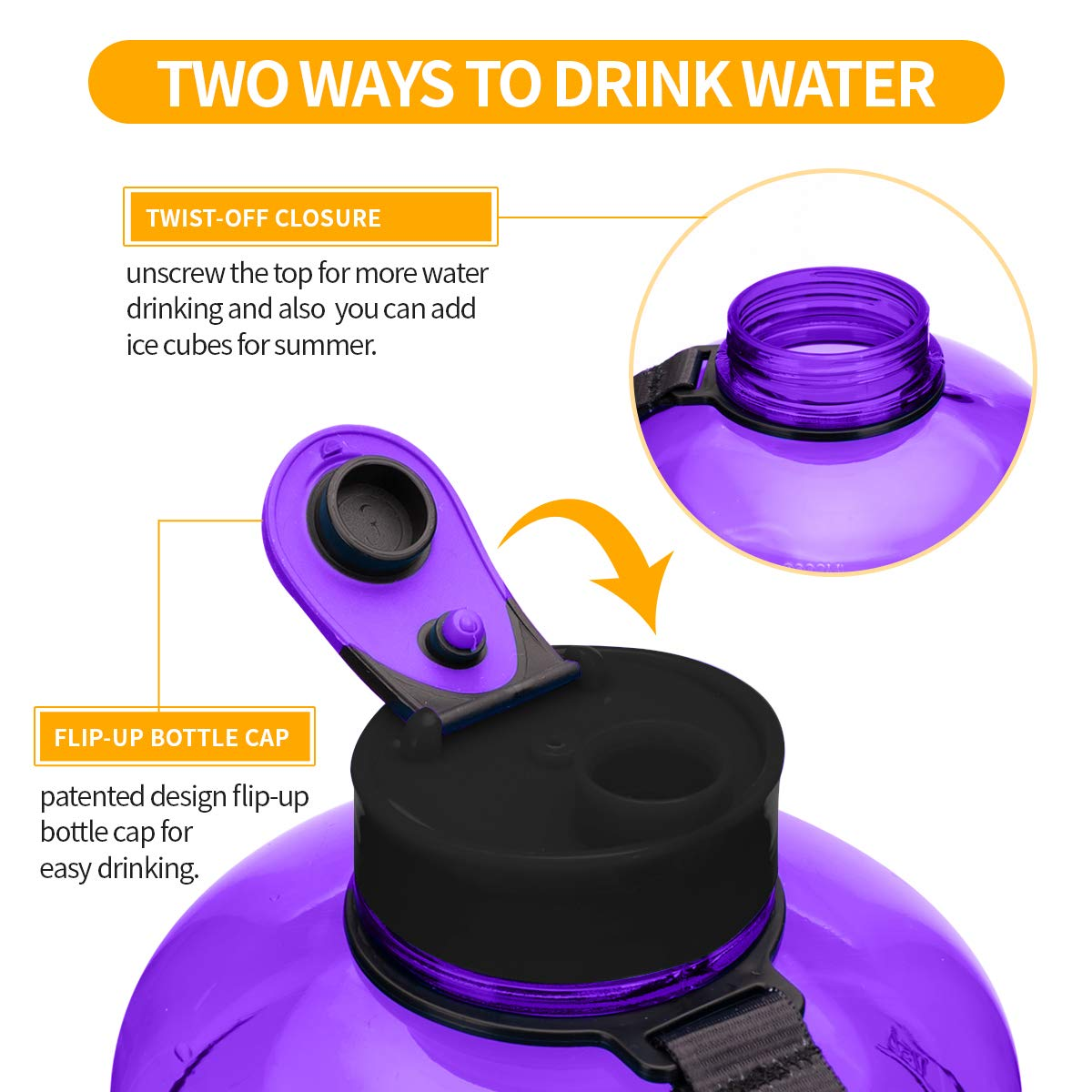 TOOFEEL 2.2L and 1.3L Big Plastic Sports Water Bottle Water Jug Container 73OZ Large Water Canteen Flask BPA Free Leakproof for Gym Fitness Athletic Outdoor Camping