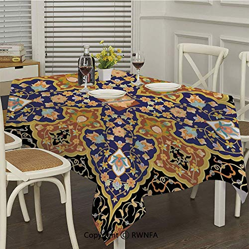 RWNFA Rectangle Tablecloth,Arabic Islamic Floral Mosaic Patterns South Eastern Antique Orient Ottoman Artwork(52