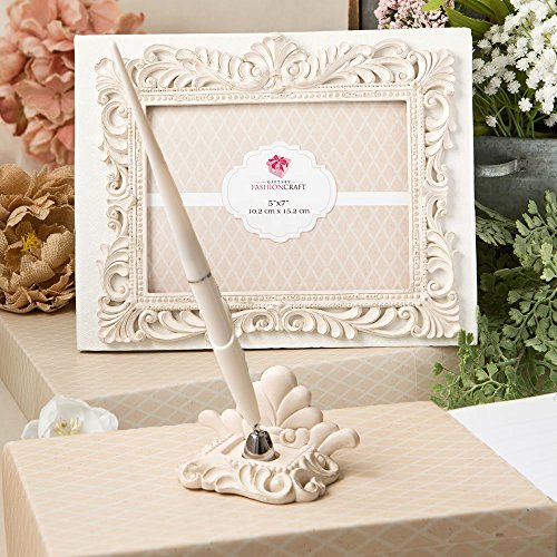 Fashioncraft Vintage Design Wedding Guest Book with Pen and holder Accessories Set, Baroque Antique Ivory Design 50 Lined Pages for Guest Thoughts by Fashioncraft