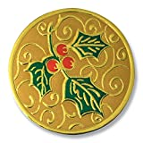 Deluxe Embossed Full-Color Holly Holiday Gold Foil Seals, 1 1/4 Inches, Self Adhesive, 32 Count