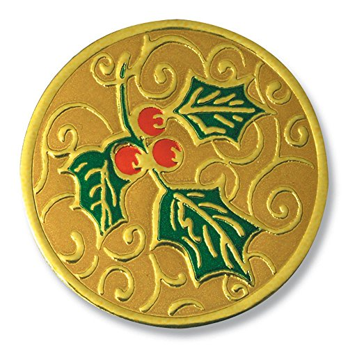 (Deluxe Embossed Full-Color Holly Holiday Gold Foil Seals, 1 1/4 Inches, Self Adhesive, 32 Count)