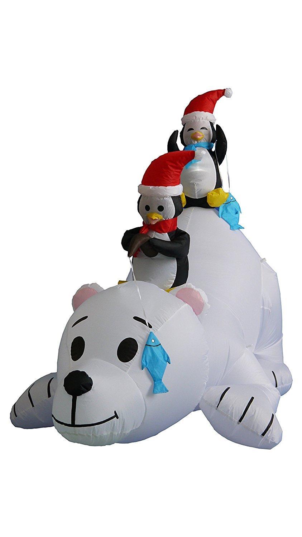 6 Foot Long Christmas Inflatable Penguins Fishing on Polar Bear Decoration BZB Goods 100166