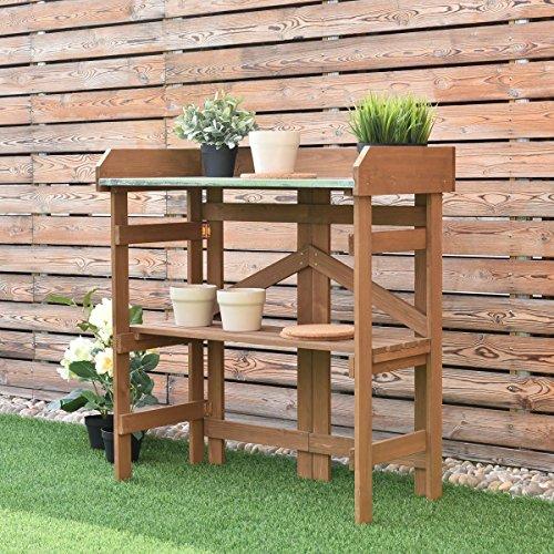 (Generic ing Bench Plan Wooden Outdoor Potting tdoor Potting Workstation Shelves Planting Wor Rack Stand kst Bench Planting ves Table Desk ble Desk)