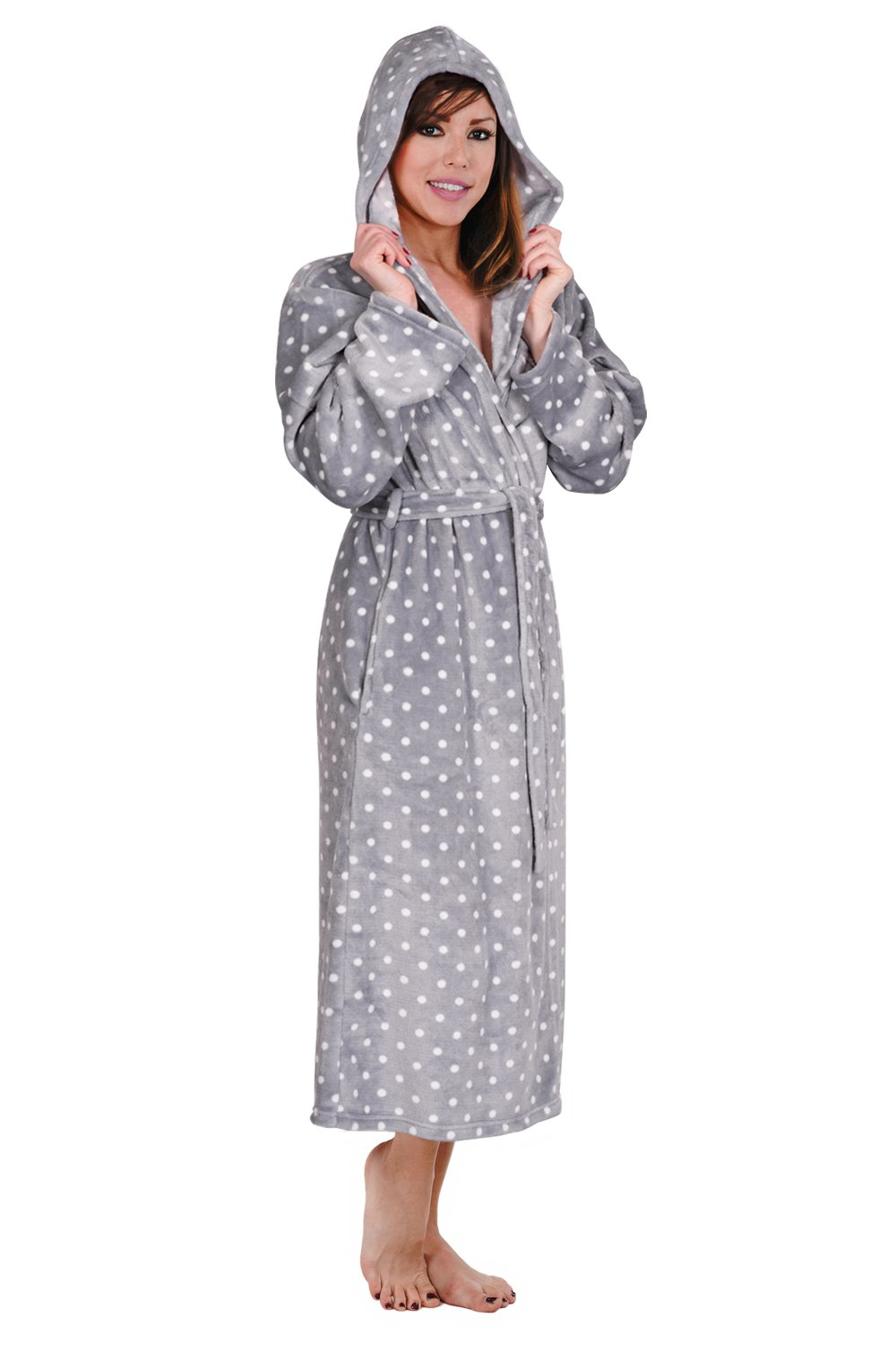 Hoodie Robe Hooded Robe Spa Bathrobe Hoody Robe Long Robe … (4X, Gray Polka Dot)