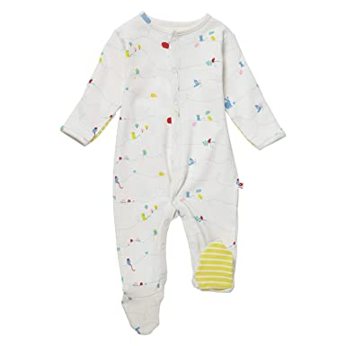 5d873b33e5ce Piccalilly Organic Cotton Baby Girls White Nature Trail Footed ...