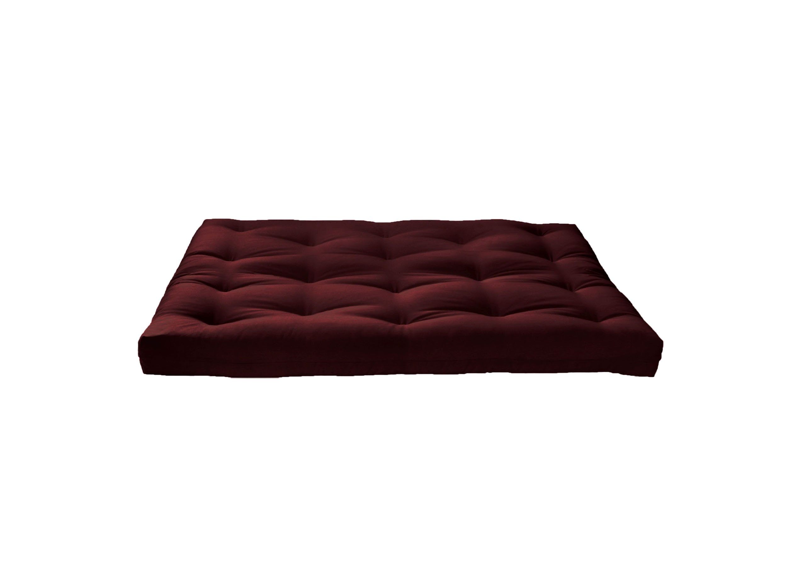 Artiva USA Home Deluxe 8'' Futon Sofa Mattress with Inner Spring Made in US Best Quality for Long-Lasting Use, Solid, Full, Dark Burgundy by Artiva USA