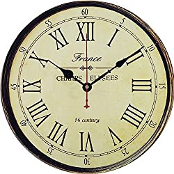 Yesee 16'' Wooden Wall Clock, No Ticking Quiet Wood Clock Battery Operated, [NO CASE] Vintage Wall Clock Decorative for Living Room Bedroom (16 Inch, Champs Elysees)