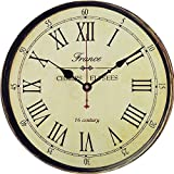 Yesee Wall Clock No Ticking Vintage Wood Wall Clock Battery Operated Large Decorative for Kitchen Living Room Kids Bedroom [No Case] (12 inch, Champs Elysees) Review