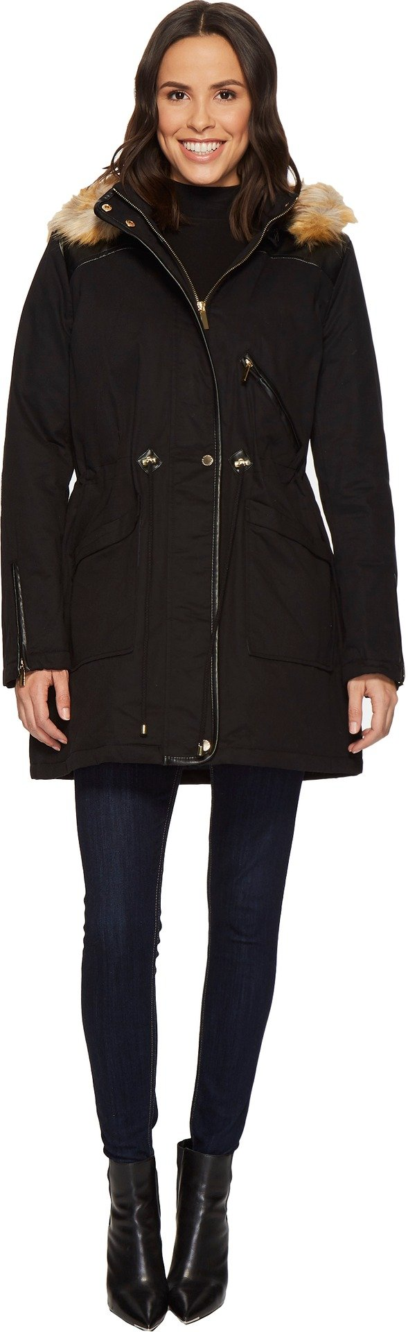 French Connection Womens Anorak Faux Fur Hood and Drawstring Waist Black XL One Size