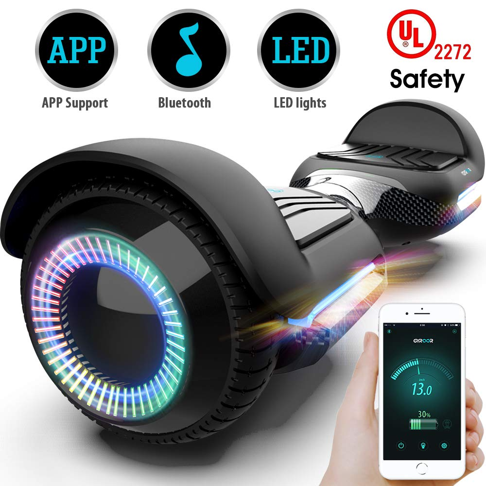 Gyroor T580 Hoverboard Self Balancing Scooter with Music Speaker LED Lights, 6.5 inch Two-Wheel Electric Scooter for Kids Adult - UL2272 Certificated (Black) by Gyroor