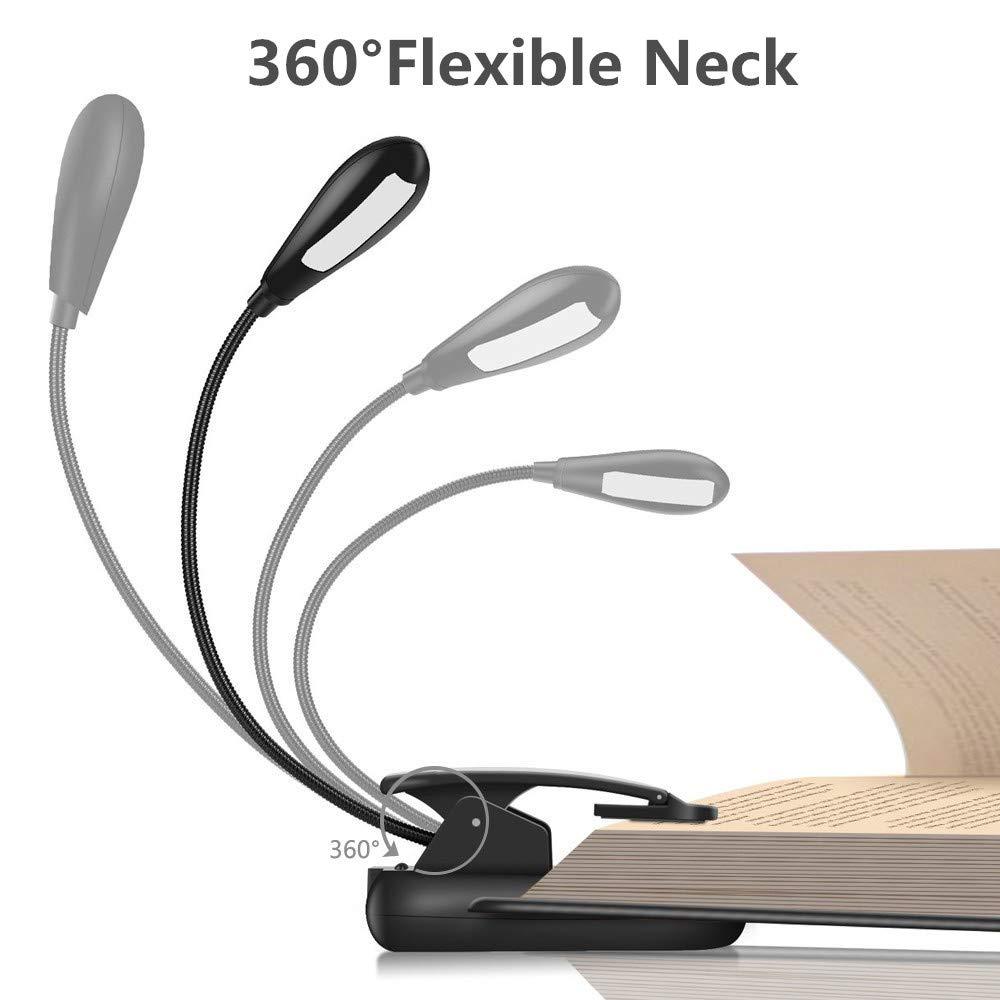 LED Wiederaufladbar 9 Stufe Helligkeit Netzteil und USB-Kabel Inklusive CASEWIND Doppel Kopf Leselampe Klemmbar Buchlampe Schwarze Arbeitsplatzleuchten