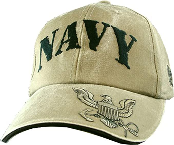 77d3a2b7f184f Eagle Crest U.S. Navy Embroidered Cap with Logo. Khaki at Amazon ...