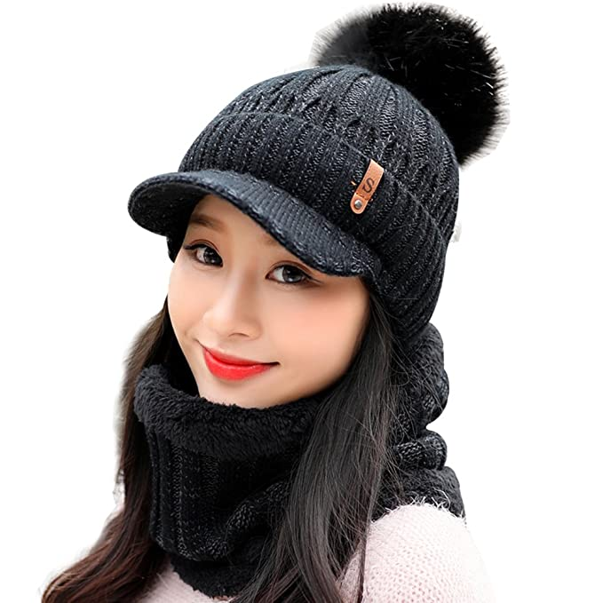 e-youth Women s Scarf and Hat 2pcs Set Knitted Warm Thicken Visor Beanie  Cap for fefddcb9c2