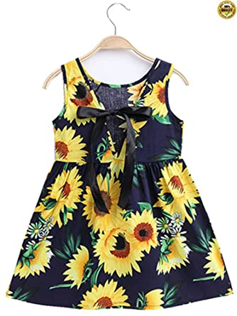 fbb0b35825f Amazon.com  Greentree 2018 Summer Casual Little Girl Sunflower Print ...