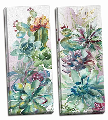 - Roaring Brook Beautiful Watercolor-Style Succulent Floral Panels by Tre Sorelle Studios; Two 6x18in Hand-Stretched Canvases