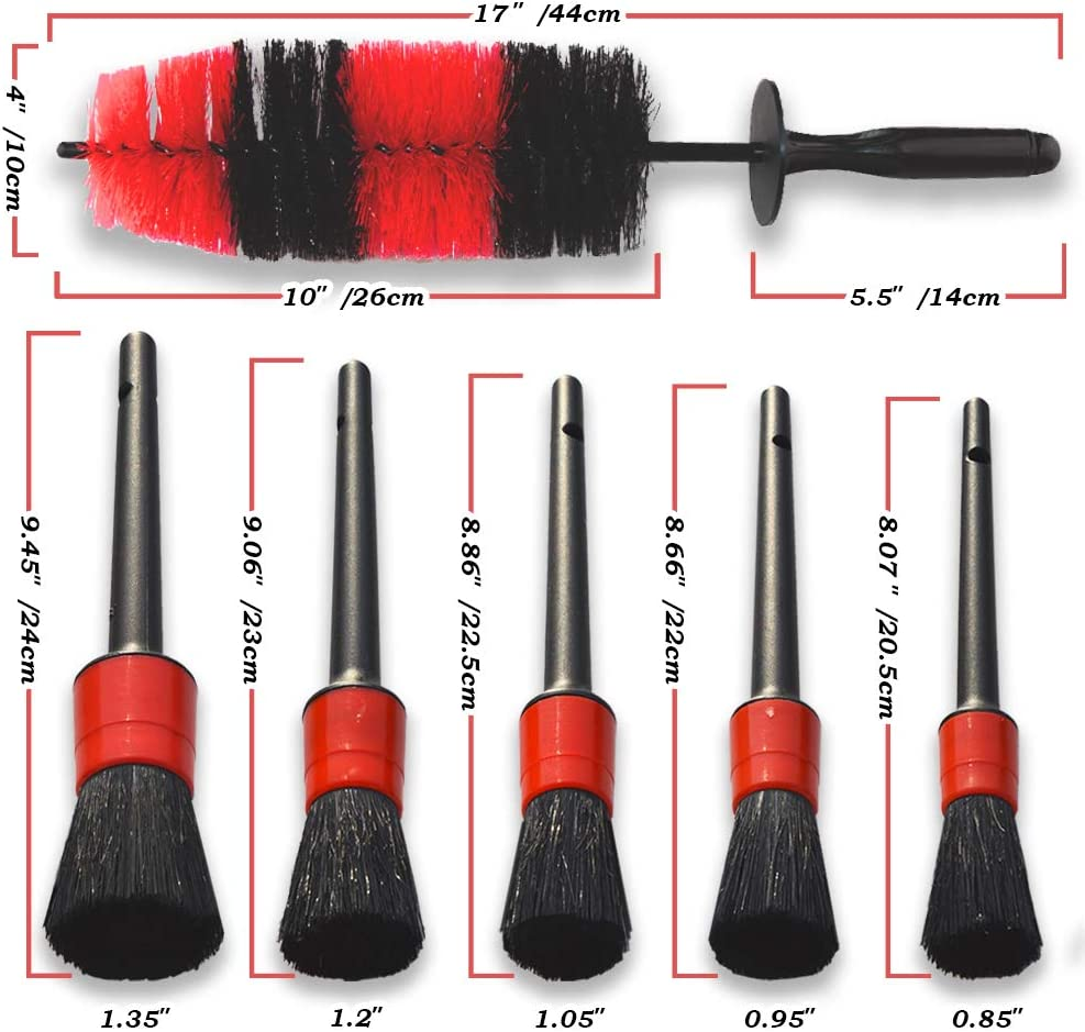 YISHARRY LI Car Wheel Cleaning Brush Kit-18inch Long Soft Bristle Tire Brush and 5 Different Sizes Boar Hair Detail Brushes
