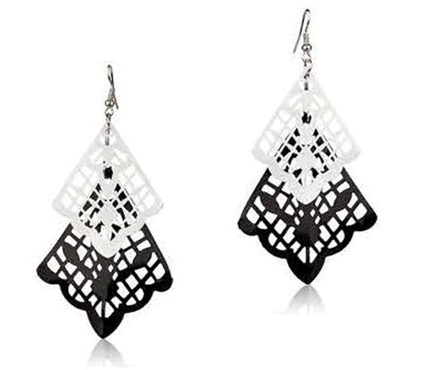 Surgical Stainless Steel Women-Girls Black /& White Retro Style Dangle Cubic Zirconia Hypoallergenic Earrings