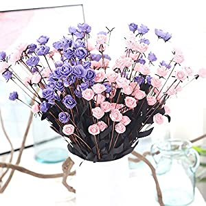 SHJNHAN Artificial Flowers, 1x Artificial PE Fake Flowers Rose Floral Wedding Bouquet Bridal Hydrangea Decor 1