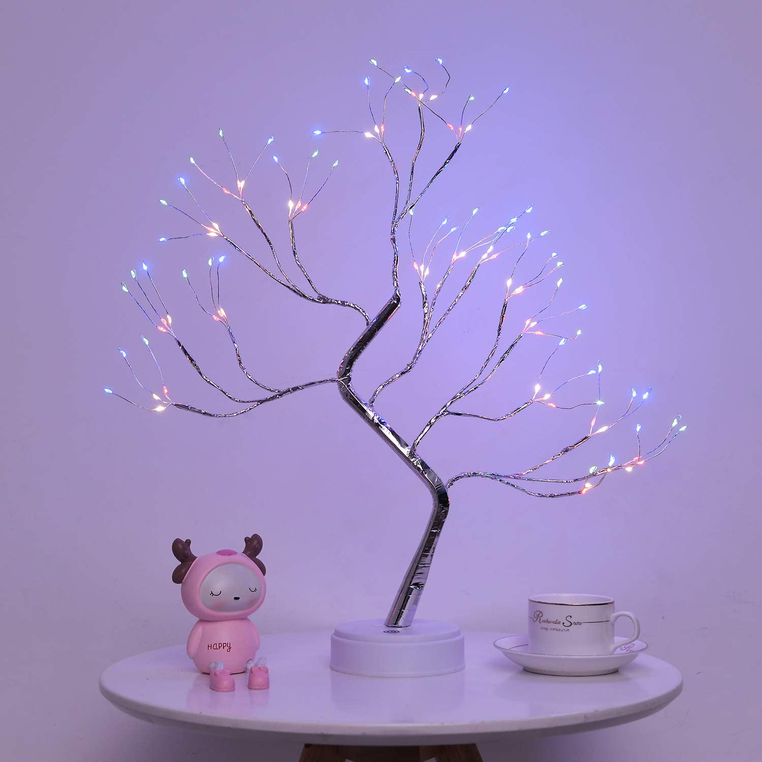 Firefly Bonsai Tree Light - 20'' Artificial Fairy Light Spirit Tree Lamp with 108 LED Lights - USB/Battery Touch Switch, Deco of Children's Room, Bedroom, Living Room, Party Wedding and Christmas