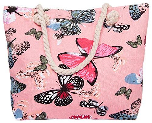 CAPRIUM Strandtasche mit Schmetterling Muster, Schultertasche, Shopper, Reißverschluss, Damen 0009000 (Grau) Rosa