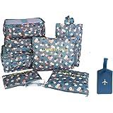 NOVAGO Organizzatori per valigie , 7 pezzi , per organizzare i vestiti , biancheria intima , scarpe, vestiti sporchi + 1 Etichetta per valigie offerta (Blu / Fiori)