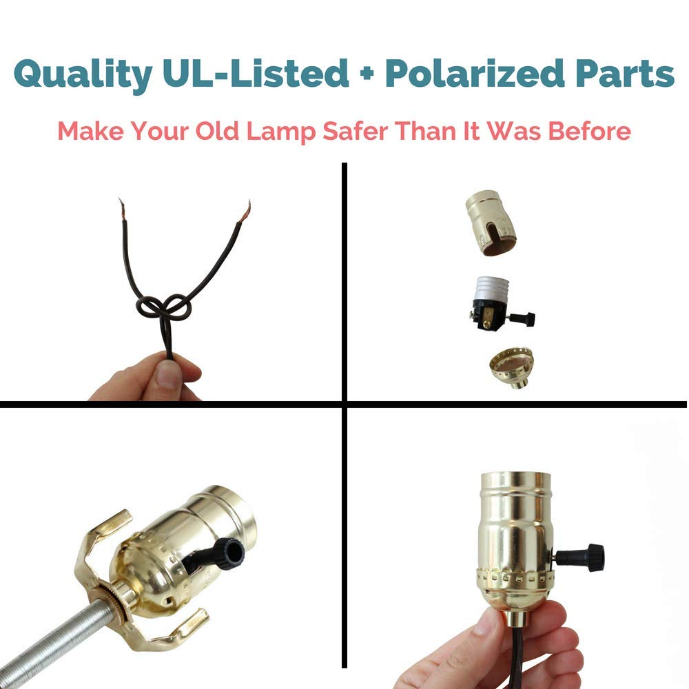 Lamp Making Kit Electrical Wiring To Make Or Refurbish Lamps Diy How Rewire An Old With Brass Plated Socket And 12 Feet Brown Wire Cord