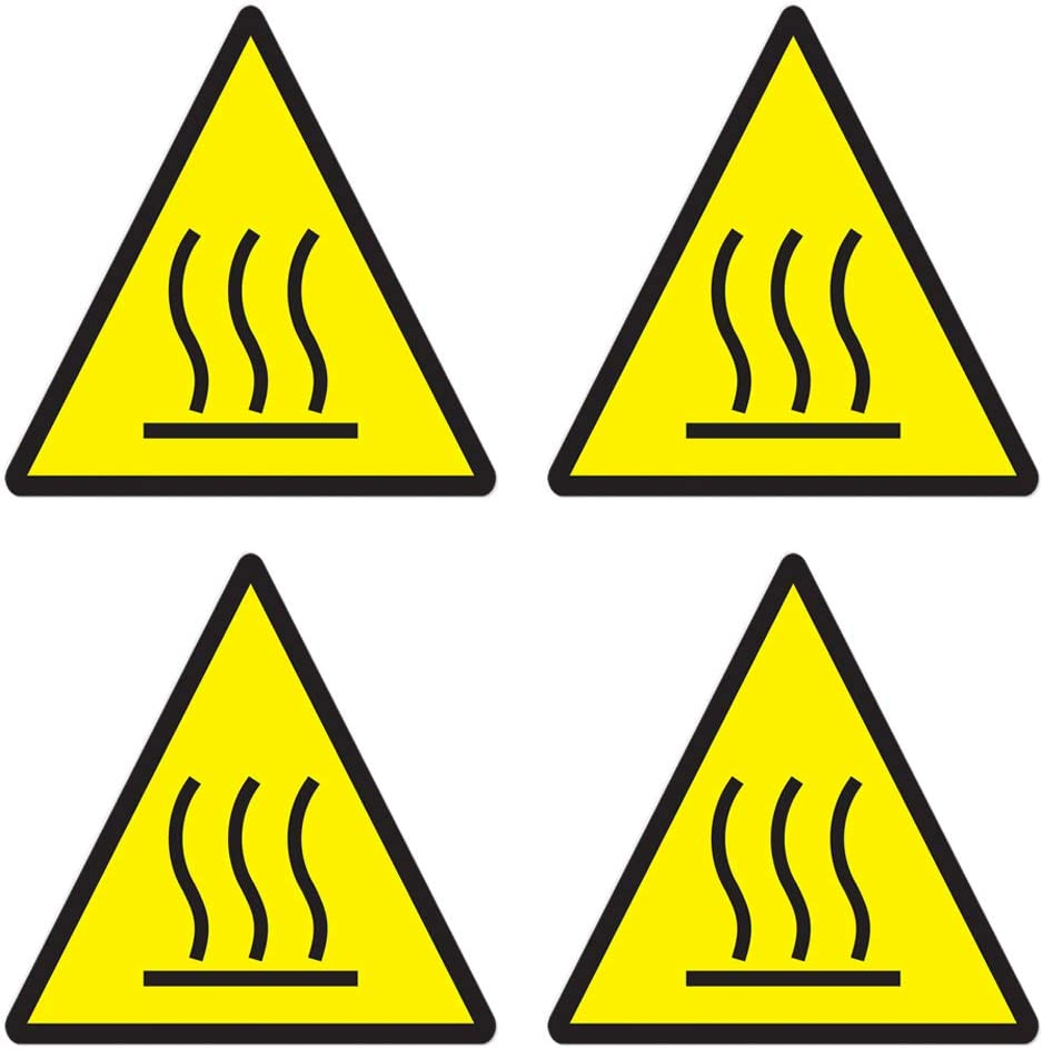dealzEpic - Hot Surface Caution Sign Sticker - Self Adhesive Peel and Stick Triangle Vinyl Decal - 3.94 x 3.94 inches   Pack of 4 Pcs