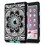 (US) iPad Air 2 Case, [Shockproof][Drop Protection][Heavy Duty] Rugged Three-Layer Defender Case Cover For iPad Air 2/ iPad 6th Generation Flower (Black/Mint Green)