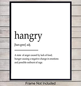 Hangry Definition Wall Art Print Typography - 8x10 Unframed Photo - Makes a Great Gift for Kitchens - Funny Home Decor