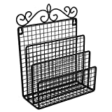 Samstar Wall Mounted Mail Organizer / Hanging Mail Sorter Letter Holder Organizer for Entryway, Kitchen and Home, 3 Sections, Black
