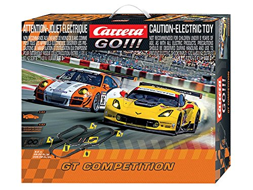Slot Track Set - Carrera GO!!! GT Competition - Slot Car Race Track Set - 1:43 Scale - Analog System - Includes 2 Racing Cars: Porsche and Chevrolet Corvette - Two Dual-Speed Controllers with Turbo - For Ages 8 and Up