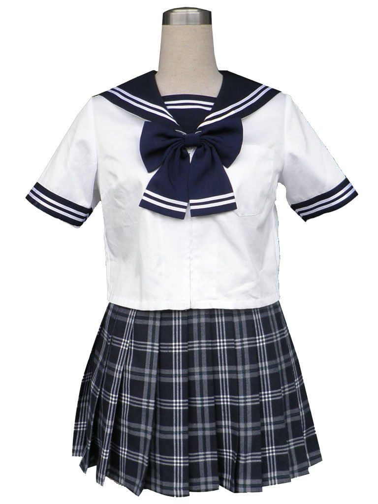 antaina Cotton Lolita Classic Japanese Anime Plaid Dress Sailor School Uniform ,XL