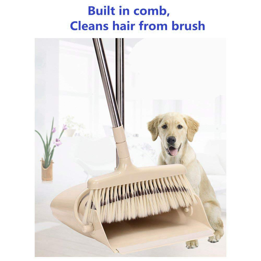Jesauge Broom with Dust Pan Combo Set for Office and Home Sweep