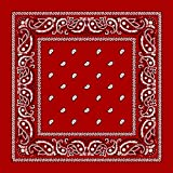 """Large 100% Cotton Paisley Bandanas (22"""" x 22"""") - Red Dozen Packed 22x22 - Use For Handkerchief, Headband, Cowboy Party, Wristband, Head Scarf - Double Sided Print"""