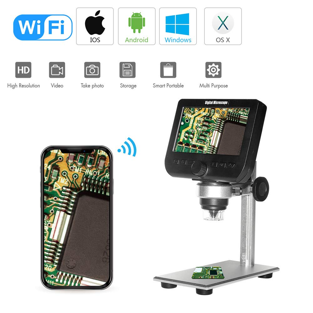 New Landing 4.3 Inch 2MP 1080P 50-1000X Wireless WiFi Microscope by New Landing